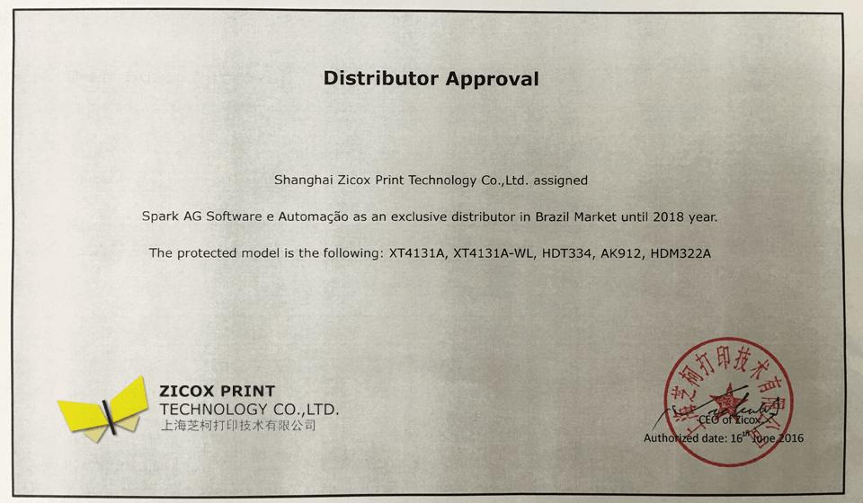 Certificado de Distribuição das impressoras termicas móveis Bluetooth ou WiFi da Zicox