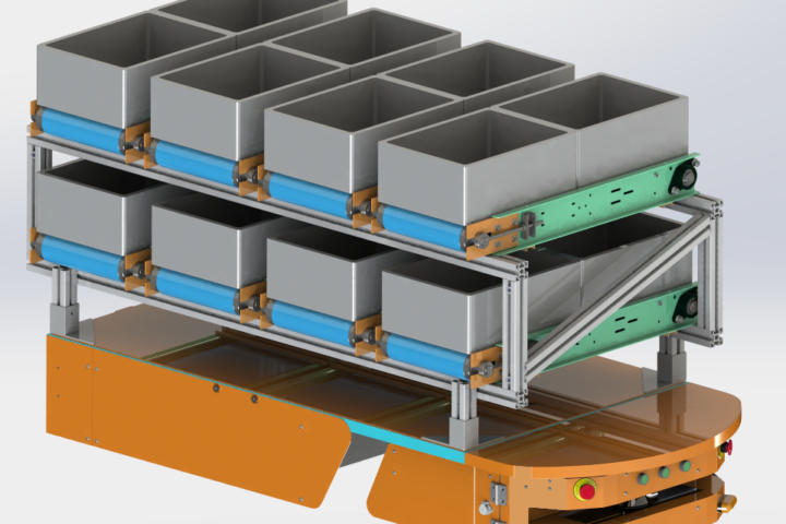 AGV da Spark com múltiplas linhas de esteiras automatizadas